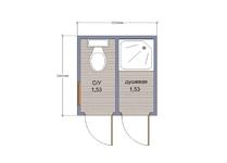 Хозблок с душем и туалетом 2х2