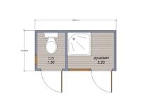 Хозблок с душем и туалетом 3х1.5
