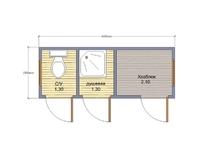 Туалет душ хозблок 3 в 1 4х1.5